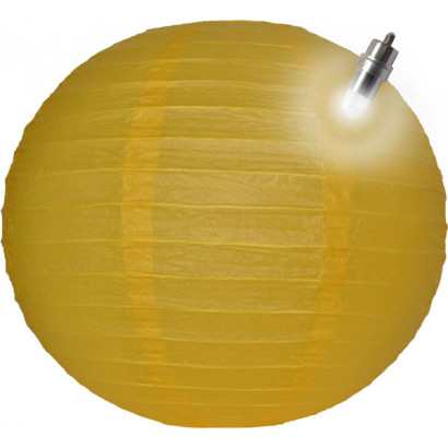 Farolillo de papel LED 30cm amarillo