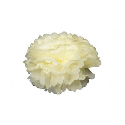 Pompón de Papel 20cm, crema