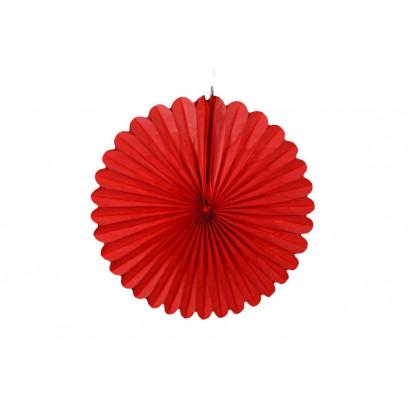 Abanico / roseta de papel rojo 20 cm