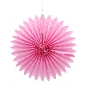 Abanico / roseta de papel rosa 20 cm