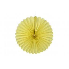 Abanico / roseta de papel amarillo 20 cm